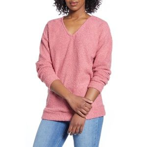 CASLON Mauve Shearling Teddy V-Neck Sweater